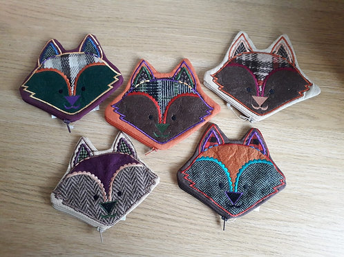 Embroidered Fox Tweed Purse
