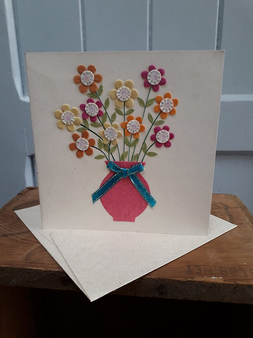 Sequin Flower and Vase Card with Envelope