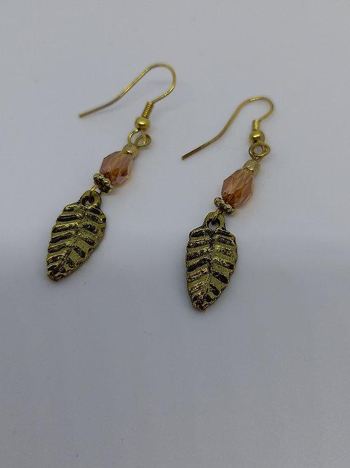 Gold coloured Leaf Earrings
