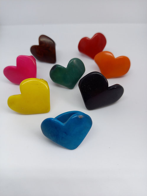 Tagua Nut Heart Ring