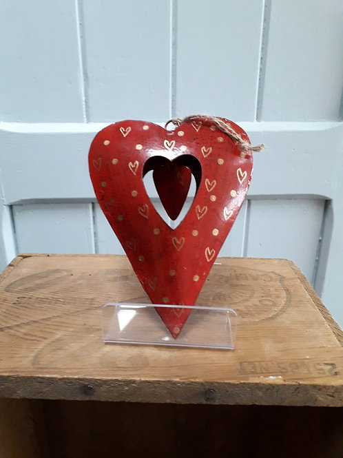 Metal Heart in Red with Cut Out