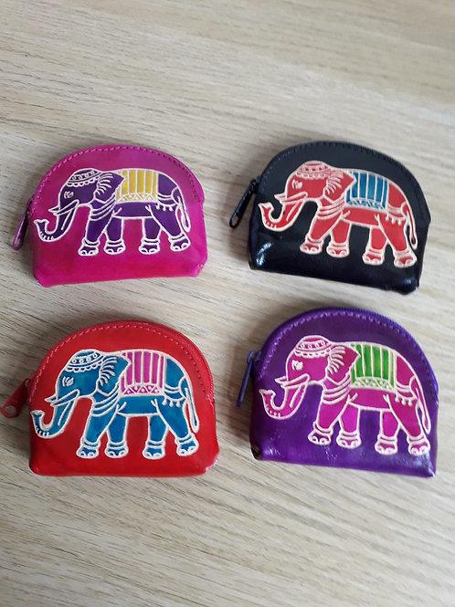 Leather Elephant zip purse