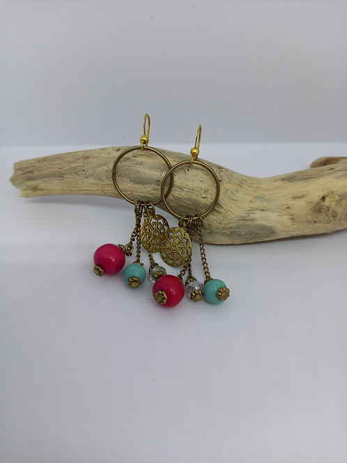 Bead and charm drop earrings