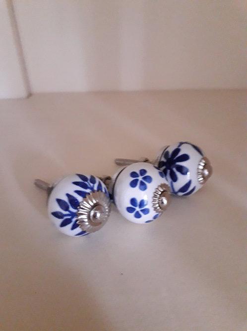 Indigo Ceramic Hand Painted Doorknobs
