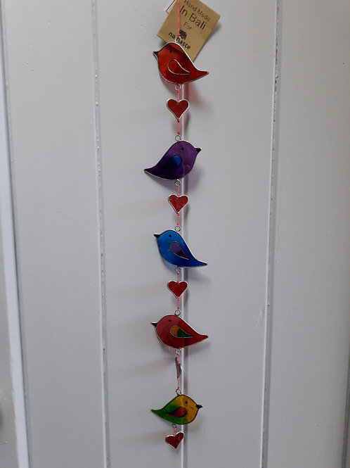 String of 5 birds and hearts resin lightcatcher