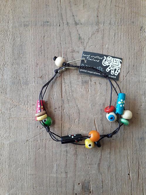 Handpainted Wooden Bead Bracelet