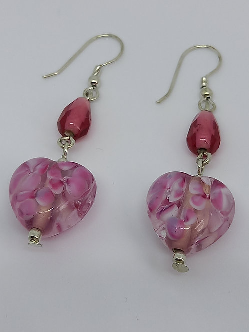 Pink Glass Heart Earrings
