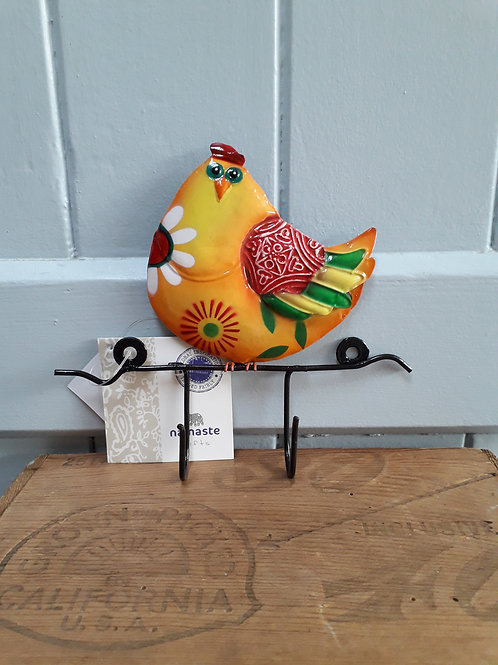 Hen with two hooks