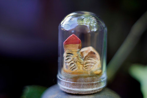 Clay seaside cottages  - Tiny miniature under glass cloche dome
