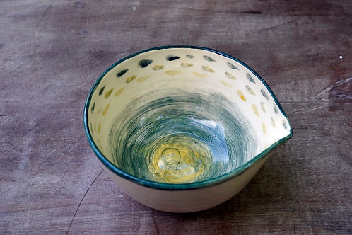 Small greeny yellow watercolour pouring bowl