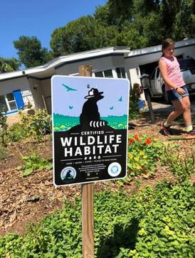 Wildlife Habitat Sign in an Urban Garden