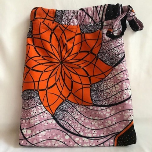 Purple Ankara Cloth Shoe Bag
