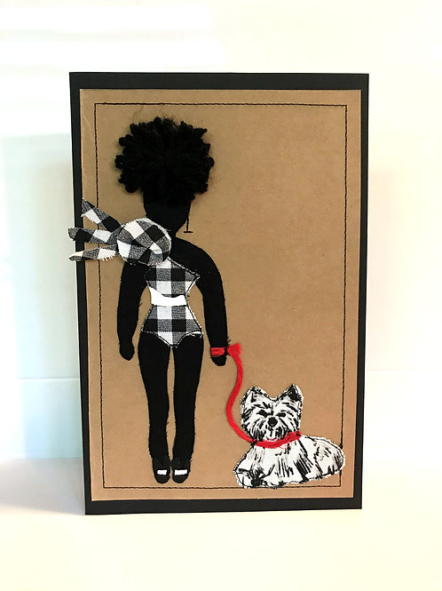 "Greeting Card ""Fly Dog Walker"""