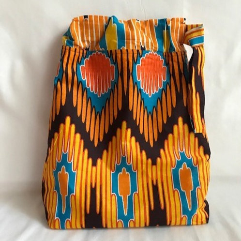 Orange Ankara Cloth Shoe Bag