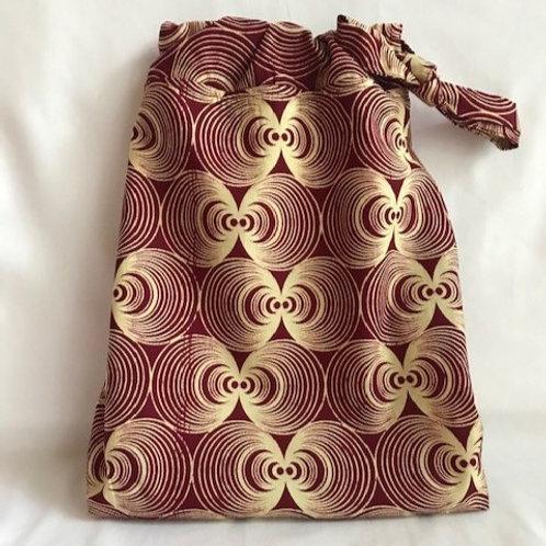 Red Ankara Cloth Shoe Bag