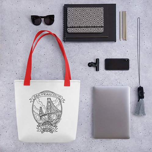 Sf Strong Black Linework Tote Bag