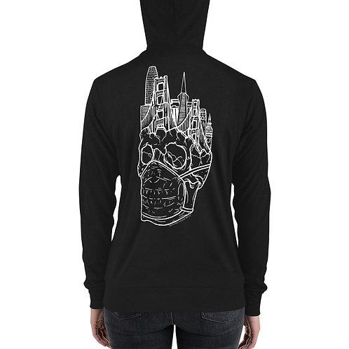 Whiteline Quarantine Skull Unisex zip hoodie (Back Print)