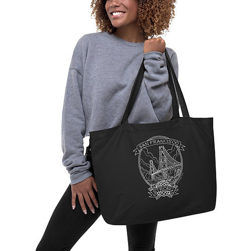 SF Strong White Linework Organic Tote Bag (LG)