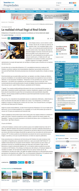 INTERVIEW: La Nacion Argentina interview ArX Solutions. Half page coverage.