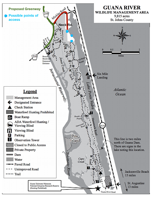 Map of Outpost and Guana River WMA