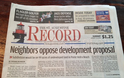 St. Augustine Record front page Save Guana Now