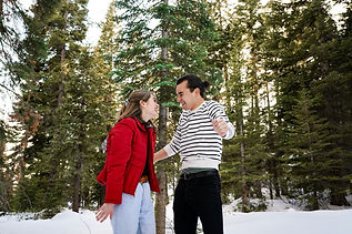 Playful winter couples photo session