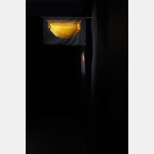 A noite-enorme-tudo dorme, menos teu nome (Paulo Lemisnki), 2019. Tule, organza e tubo de cobre. 35x49cm