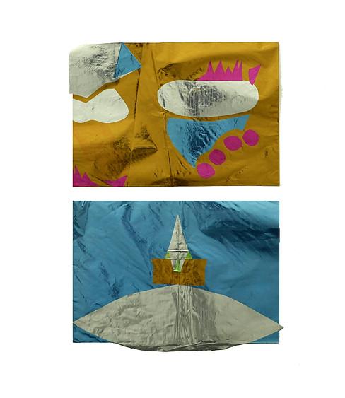 Barco e Toalha, 2017. Papel metalizado. 42 x 29 cm