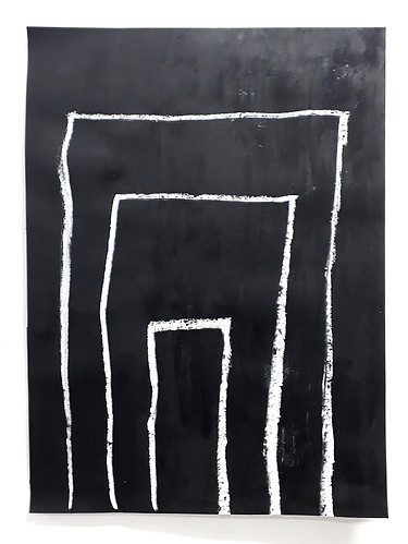 Carta que encaminhei, 2019. Acrílica e bastao oleoso sobre papel. 59 x 88 cm