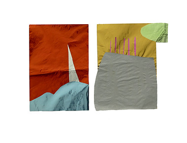 Barco e Desenho, 2017. Papel metalizado. 32 x 41 cm