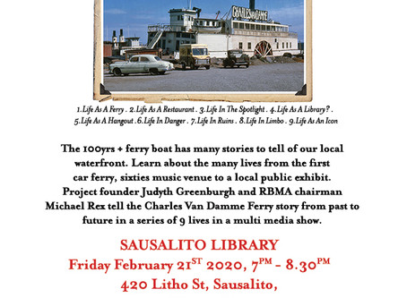 """Tonight-Feb 21, 7pm at Sausalito Library """"The 9 Lives of the Charles Van Damme Ferry"""""""