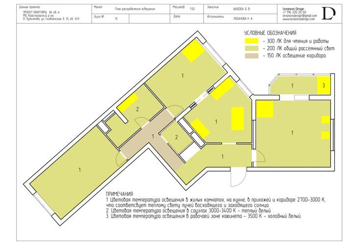 План распределения освещения