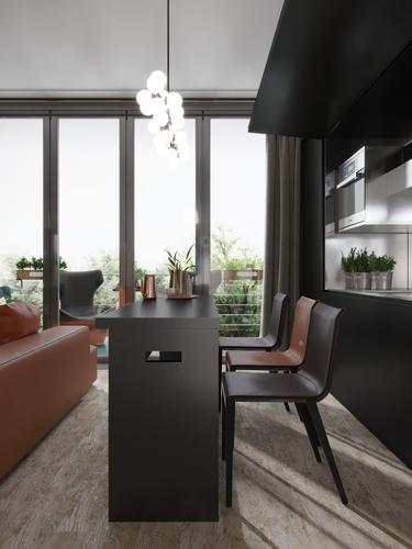 гостиная - зона кухни
