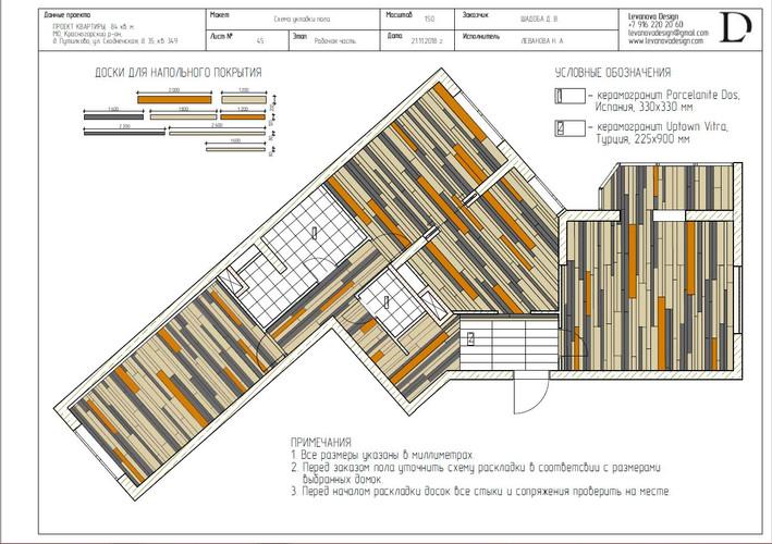 Схема укладки напольного покрытия