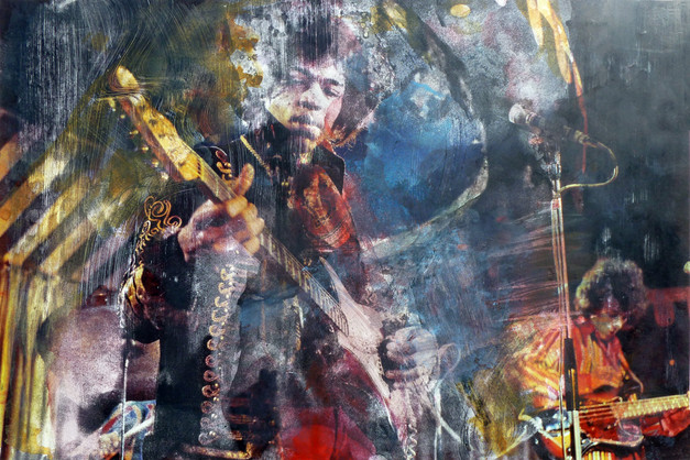 Jimi Hendrix  Ink dissolution and pigments cm 30,5x46 2019