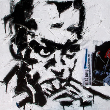 Miles smiles olio e collage su tela cm 60x60 2010