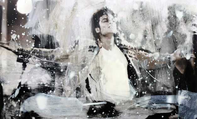 Michael Jackson  Ink dissolution and pigments cm 46,5x27,5 2018