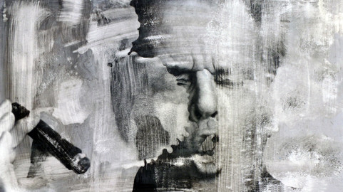 Jack Nicholson  Ink dissolution and pigments cm 48x27 2018