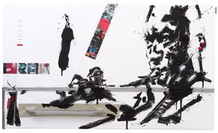 In the still of the night Olio e collage su alluminio cm 59,5 x 100,5 2011