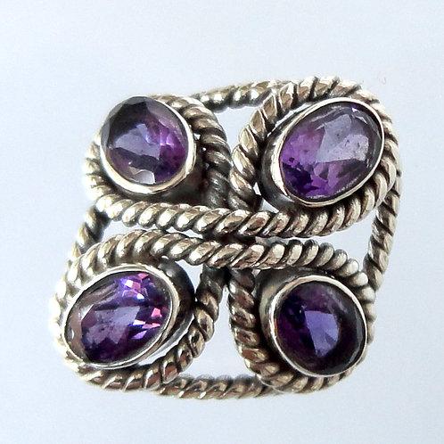 2110 Designer Flower Silver Ring