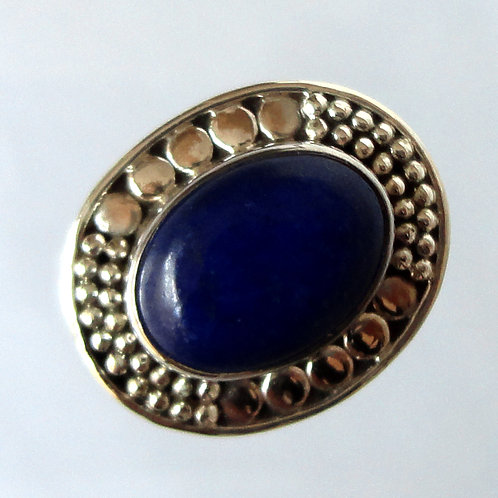 2079 Silver Ring With Blue Natural Stone