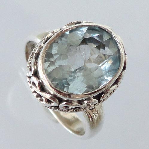 2108 Handmade Silver Blue Ring