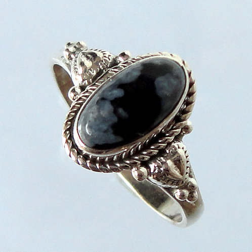 Black Sterling Silver Ring - 2162