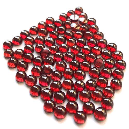 Natural Red Garnet Gemstone 3 mm Round Calibrated Cabochon