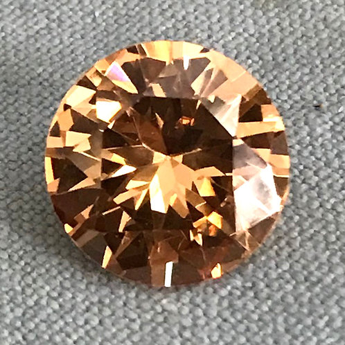 Cubic Zircon Faceted Gemstone Round Champange Color 3x3mm - 15x15mm
