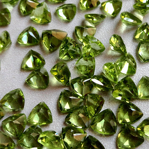 Peridot Trillion Faceted Calibrated Gemstone