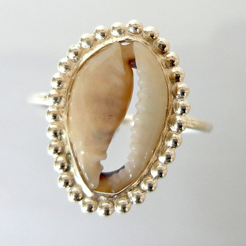 2068 Cowrie Shell Silver Stackable Ring