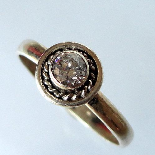 Round Gemstone Silver Ring - 2163