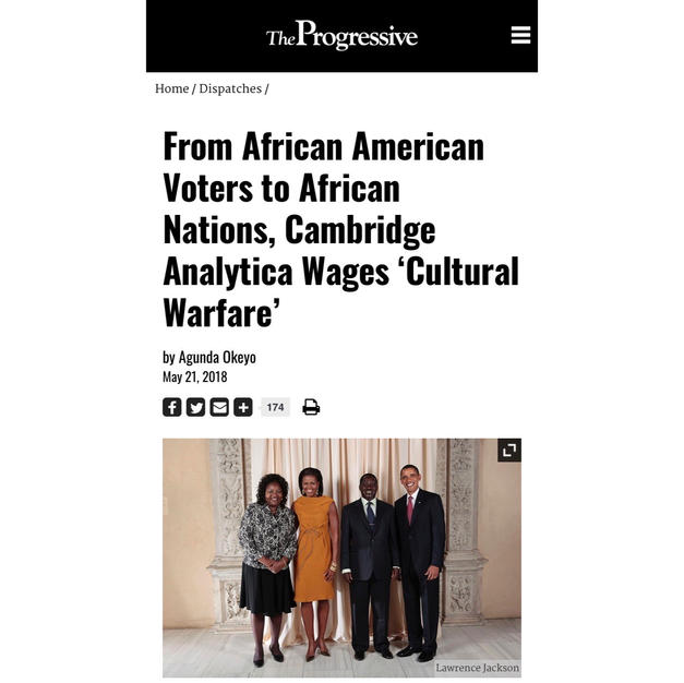 The Progressive OpEd: From African American Voters to African Nations, Cambridge Analytica Wages 'Cultural Warfare'