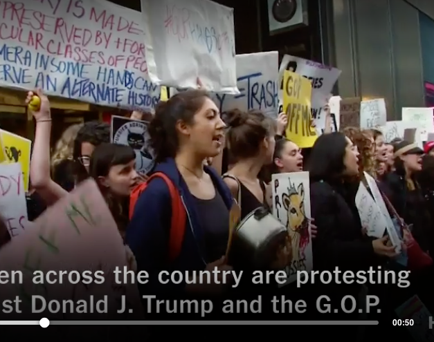 "New York Times: ""Millennials Protest Against Trump"""